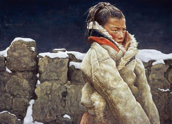 «Падающий снег», картина Фань Иминя, завоевавшая Серебряный приз в Конкурсе картин   китайской иллюстрации, проводимого NTD. Фото с сайта minghui.ca