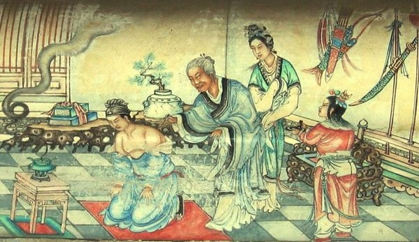 Мать Юэ Фэя пишет на его спине наставление «Будь искренне преданным в служении государству». Картина из галереи Чанлан.