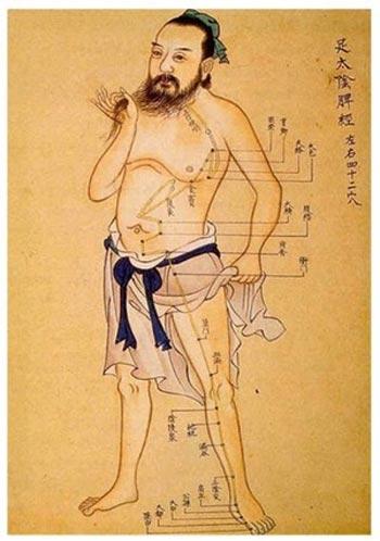 Древний китайский рисунок одного меридиана