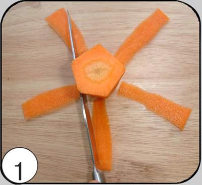 1. Придать овощу форму конуса и пятиугольника — длинным ножом из набора обрезать по кругу с пяти сторон.