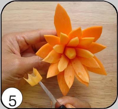 5. Тайским ножом из набора укоротить оставшуюся сердцевину и обрезать ее на конус.