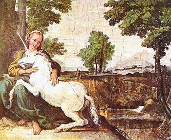 Привлекаемые чистотой, согласно легенде, единороги особенно привлечены к девственницам. Они предпочитают оставаться рядом с девственницами и мирно засыпают в их присутствии. Девственница с единорогом, Доменико Цампьери. Фото: wikimedia commons