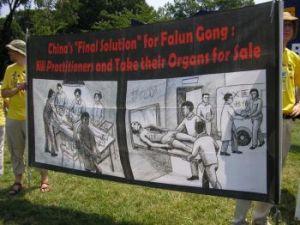 Практикующие Фалуньгун держат плакат, чтобы показать людям картины насильственного извлечения органов у живых последователей Фалуньгун в Китае ради получения прибыли, 18 июля 2008 г, Вашингтон. Фото: Gisela Sommer /The Epoch Times