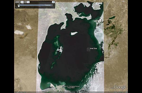 Съемки  Аральского моря в 1973 году, на фотографии видно -  опустынивание  еще не наступило. фото с Googel earth.