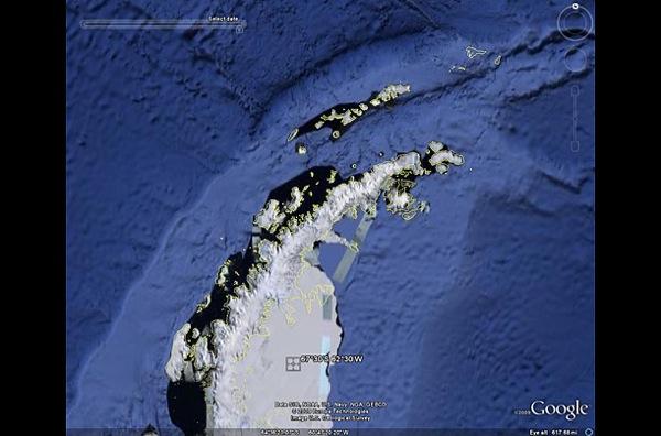 Ларсен ледового шельфа в 2007 году, сильно отличается из-за  глобального потепления . фото с Googel earth.