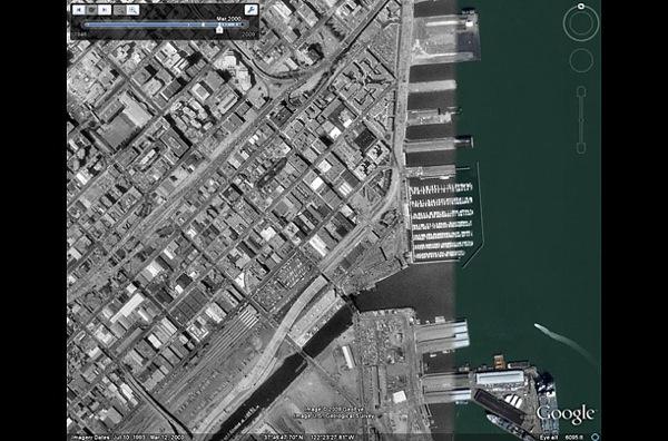 В 1993 году в Сан-Франциско набережная еще не укреплена. фото с Googel earth.