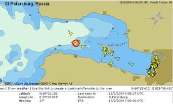 Карта, на которой отмечено положение судна по состоянию на полдень 18 марта. Фото с antiatom.ru