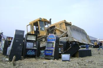 В Пятигорске прошла акция по уничтожению 20-ти игровых автоматов. Фото: Наталья Леонова