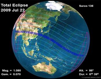 Схема видимости затмения 22 июля 2009 г. Изображение с eclipse.qsfc.nasa.gov