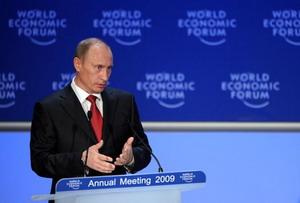 В швейцарском Давосе в среду 28 января официально стартовал Всемирный экономический форум. Впервые на открытии форума выступил российский премьер Владимир Путин. Фото: FABRICE COFFRINI/AFP/Getty Images