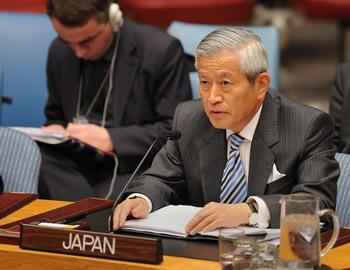 Японский посол Юкио Такасу на заседании Совета безопасности ООН, 6 апреля 2009 г. Фото: STAN HONDA/AFP/Getty Images