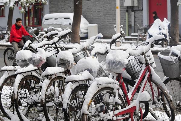 Сильный снегопад прошёл в Пекине. Фото: AFP/Getty Images