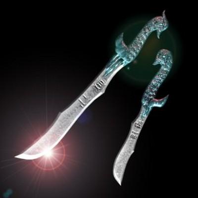 Два меча «Селезень и утка». На длинном мече «селезне» выгравировано «гуманист», а на коротком «непобедимый». Фото с aboluowang.com