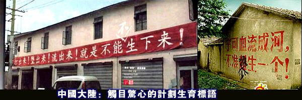 В Китае правительственные лозунги. Надпись на транспаранте: «Выбить! Изгнать! Вытечь! Но нельзя родить!» Надпись на доме: «Пусть лучше кровь льётся рекой, но нельзя родить ни одного сверх нормы!»