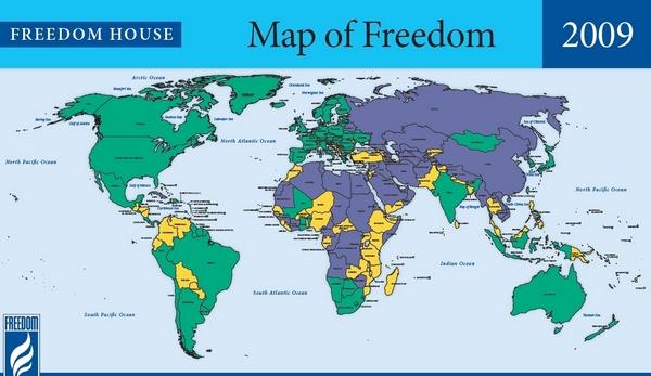 Зелёным выделены свободные страны; жёлтым – наполовину свободные; синим – несвободные