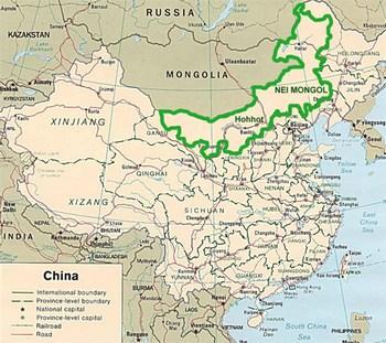 Внутренняя Монголия (обозначена зелёным цветом) занимает 12% территории Китая