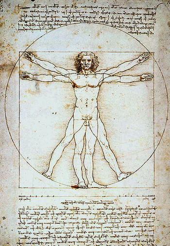 Всем известно изображение человека вписанного в квадрат и круг – «Витрувианский человек». Фото: www.blogg.ucoz.ru