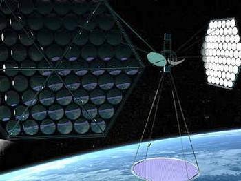 Спутник с надувными зеркалами. Иллюстрация Mafic Studios