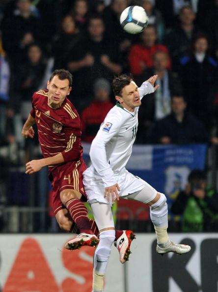 Российская команда проиграла сборной Словении со счётом 0:1. Фото: HRVOJE POLAN/AFP/Getty Images