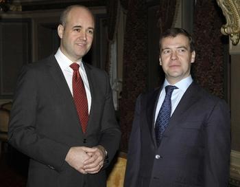 Дмитрий Медведев и премьер министр Швеции Фредерик Рейнфелд (Fredrik Reinfeldt). Фото: VLADIMIR RODIONOV/AFP/Getty Images