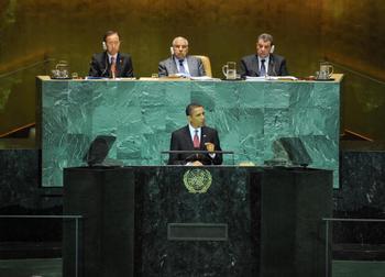 Президент США Барак Обама впервые обращается к Генассамблее ООН. Фото: STAN HONDA/AFP/Getty Images