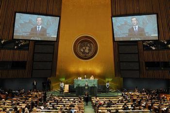 Президент России Дмитрий Медведев, выступая на Генеральной ассамблее ООН, говорил о разоружении,