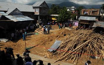 На месте обрушения церкви. Фото: DIPTENDU DUTTA/AFP/Getty Images