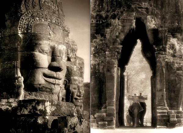 Другой мир: (R) Огромные каменные лица около Байона Angkor Thom (Камбоджа), являются безмолвными свидетельствами веры людей в буддизм во времена Кхмерской империи, расцвет которой приходился с 9 по 14 столетия. (L) Величественные руины: слон в Западных Воротах Angkor Thom, означающего «Великий город», камбоджийского объекта Всемирного наследия ЮНЕСКО, дает представление о размерах храмов, оставшихся от империи Кхмеров. Фото предоставлено галереей Sundaram Tagore