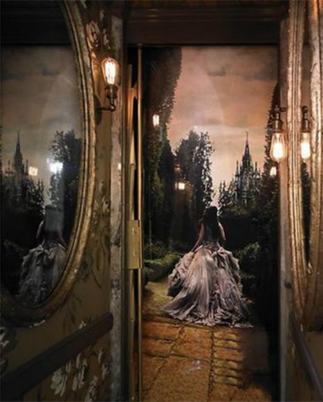 Узкий лифт даёт толчок фантазии Лаванны Кэтлин. Проект, превращающий лифт в «страну чудес», разработан для дизайнерского показа в Сан-Франциско 2012 года. Фото: Michael David Rose Photography