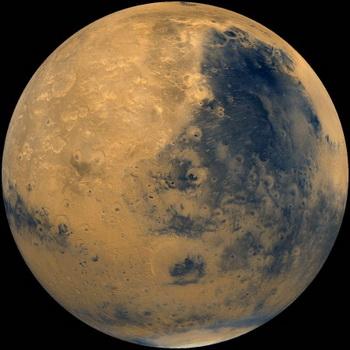 Фотоплан Большого Сырта полушария Марса спроектирован в перспективе, создавая представление, подобное тому, которое будет видно из космического корабля. Фото: NASA