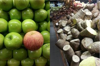 Вот мои лучшие друзья в местном продуктовом магазине: яблоки и различные виды ямса (сладкого картофеля)! Фото: Клэр Суарз