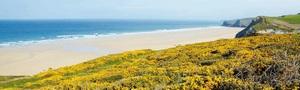Золотой песчаный пляж в заброшенной бухте Уотергейта
