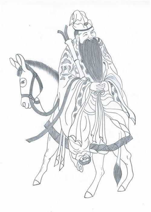 Чжан Голао – даос ездивший на осле спиной вперёд. Иллюстрация: Еуан Фан/Великая Эпоха (The Epoch Times)