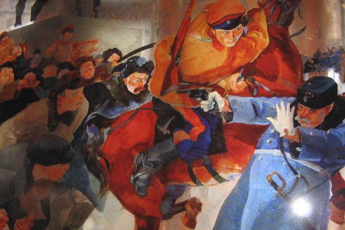 Витраж художника Р. Френца «На Знаменской площади в февральские дни 1917 г.». Фото: Татьяна Петрова/Великая Эпоха (The Epoch Times)