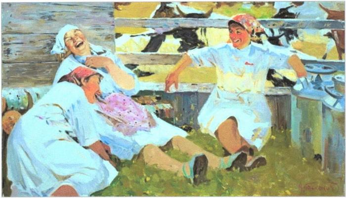 «Доярки» (1962) 69,5 x 120 см. Холст, масло. Фото предоставлено Арт фондом семьи Филатовых
