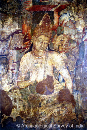 Знаменитая фреска Падмапани в пещерах Аджанты в штате Махараштра, Индия. Данный храмовый комплекс представляет собой около 30 вырубленных в скале буддийских пещерных храмов, которые были построены между II веком до н.э. и примерно 480 г. или 650 г. н.э. На санскрите «Падмапани» буквально означает «несущий лотос». Фото: Archaeological Survey of India/asi.nic.in