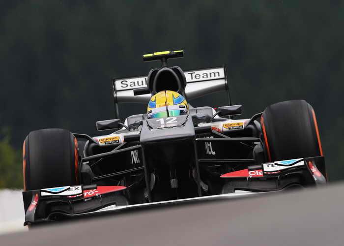Машина команды Sauber F1 на Гран-при Бельгии  23 августа 2013 года. Фото: Mark Thompson/Getty Images