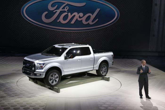 Презентация грузовика Atlas от Ford на Североамериканском автосалоне в Детройте, 15 января 2013 года. Фото: Scott Olson / Getty Images