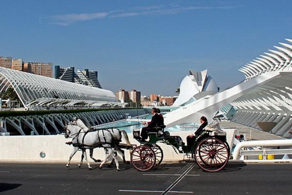 Запряженный лошадьми экипаж представляет картину прошлого на фоне зданий будущего. Фото: Judy Bayliff