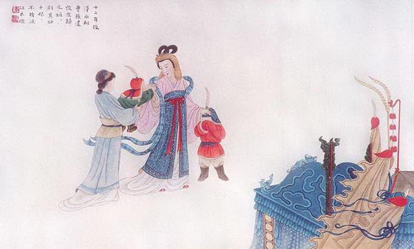 Третья картина: Двенадцать лет спустя Цао-Цао послал посыльного, чтобы сопроводить Вэньцзи Цай назад в Китай, но её дети плакали и просили мать остаться.