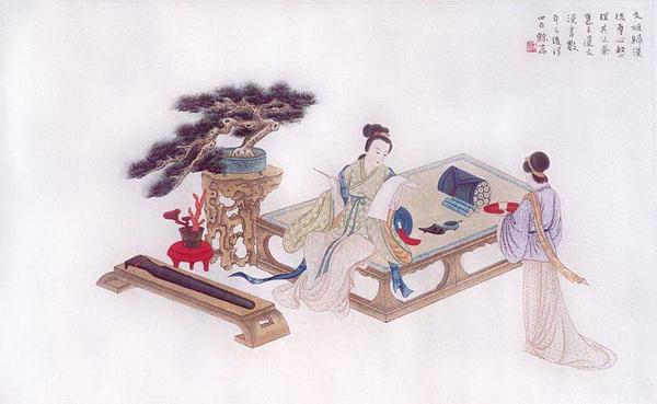 Пятая картина: После того, как Вэньцзи Цай возвратилась в Китай, она сосредоточилась на том, чтобы восстановить свитки её отца и историю Западной династии Хань. В течение нескольких лет она восстановила более 400 из них.