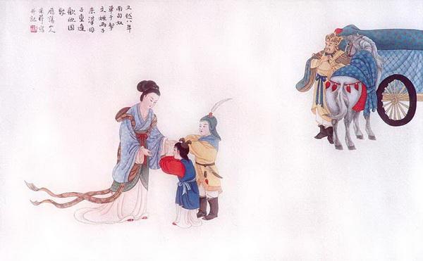 Шестая картина: Восемь лет спустя правитель гуннов с детьми приехал в Китай, чтобы воссоединиться с их матерью Вэньцзи Цай.