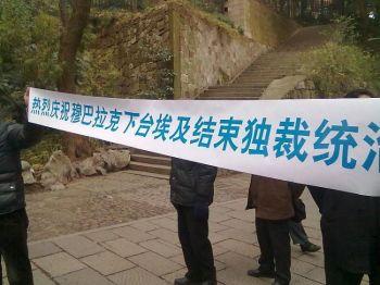 Китайские активисты держат баннер: «Празднуем отставку Мубарака и конец тоталитарного режима в Египте». (Источник: китайский активист)