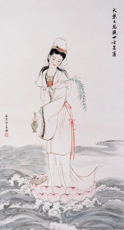 Китайская живопись. Бодхисаттва Гуаньин (Богиня милосердия). Чжан Цуйин