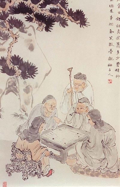 Китайская живопись. Игра в китайские шашки (вэйчи). Чжан Цуйин