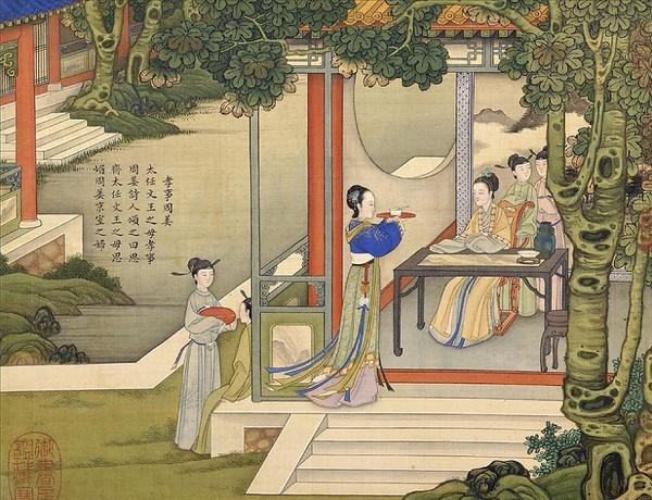 Тай Жэнь, мать правителя Вэнь Вана династии Западная Чжоу. Обращала большое внимание на добродетель и манеры. С почтением и заботой относилась к своей бабушке Чжоу Цзянь. Художник Цяо Бинчжэнь