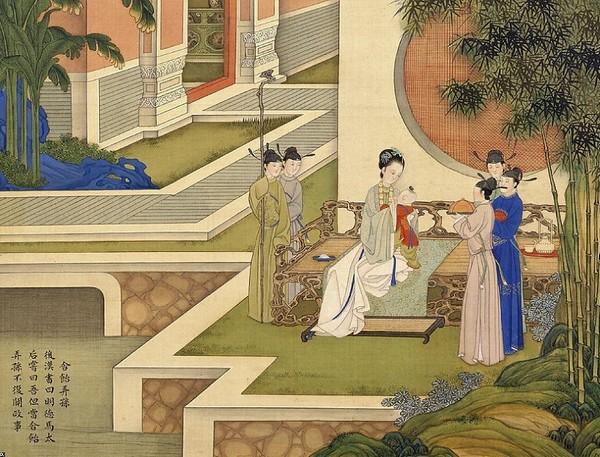 Императрица играет с внуком. После того, как умер муж императрицы Мин Дэ Ма (династия Хань), она сказала, что будет нянчиться с внуком и не будет заниматься политикой. Художник Цяо Бинчжэнь