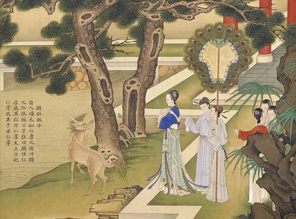 Тай Сы, мать императора У Вана династии Западная Чжоу и мифическое животное цзилинь. Художник Цяо Бинчжэнь