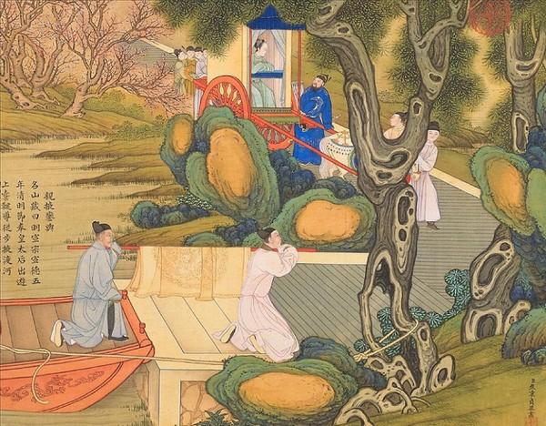 Мин Сюаньцзун, император династии Мин устроил императорский выезд для своей жены. Художник Цяо Бинчжэнь