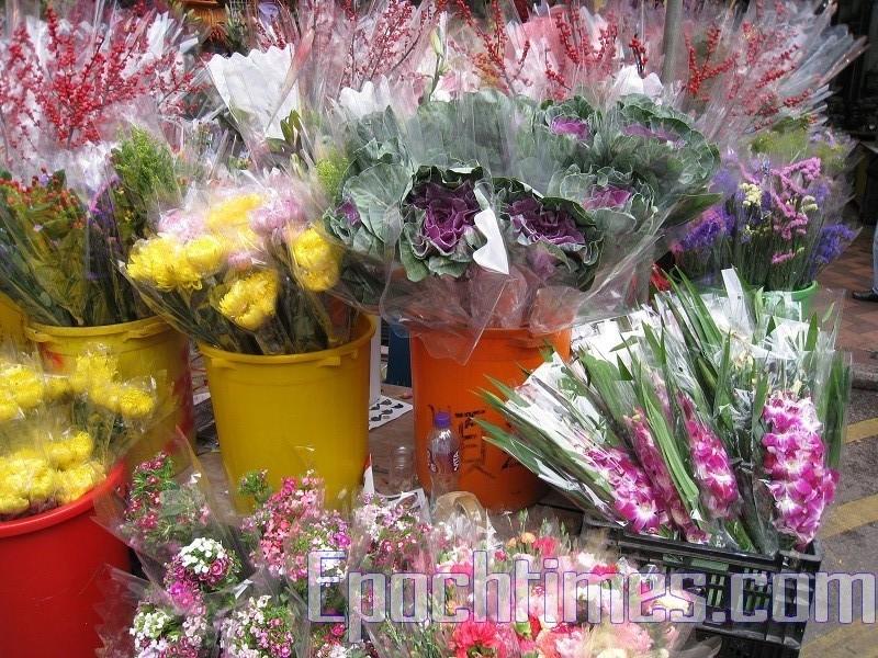 Новогодние цветы на гонконгском цветочном рынке Гонконга. 2010 год. Фото: The Epoch Times